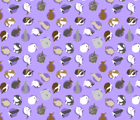 Tiny assorted rabbits - purple fabric by rusticcorgi on Spoonflower - custom fabric