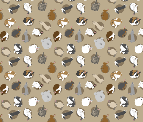 Tiny assorted rabbits - brown fabric by rusticcorgi on Spoonflower - custom fabric