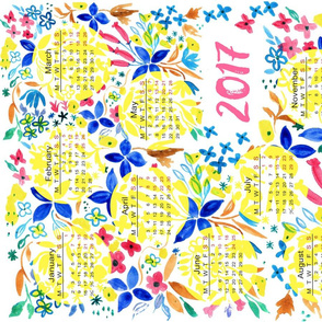Hand painted floral  2017 calendar tea towel