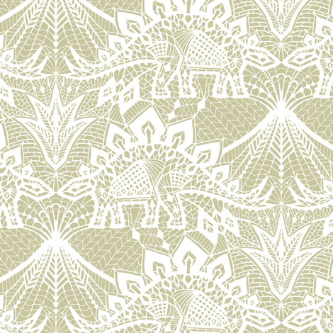 Stegosaurus lace - White / Gold fabric by andreaalice on Spoonflower - custom fabric