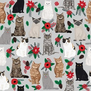Christmas Cat fabric pet friendly xmas holiday cat fabric print