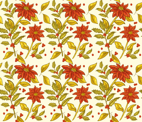 Vintage Poinsettias -09 fabric by diane555 on Spoonflower - custom fabric