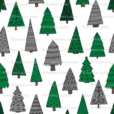 christmas trees // green and grey christmas xmas tree fabric cute christmas design xmas holiday andrea lauren