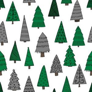 christmas trees // green and grey christmas xmas tree fabric cute christmas design xmas holiday andrea lauren