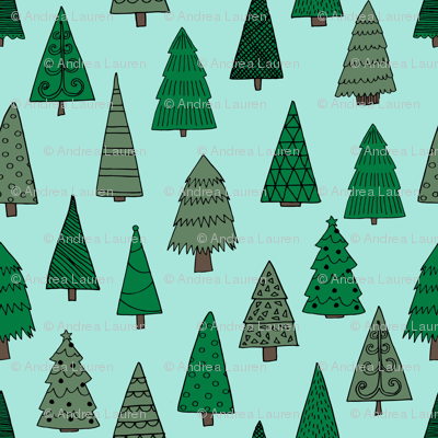 christmas trees // mint and green christmas tree forest cute christmas xmas holiday andrea lauren fabric by andrea lauren