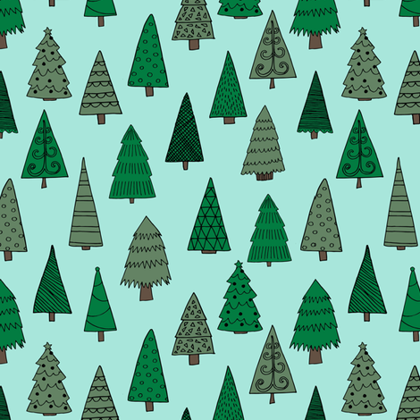 christmas trees // mint and green christmas tree forest cute christmas xmas holiday andrea lauren fabric by andrea lauren fabric by andrea_lauren on Spoonflower - custom fabric