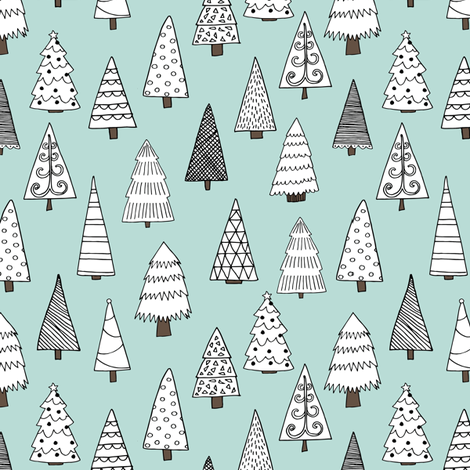 christmas trees // christmas tree forest xmas holiday winter christmas forest tree andrea lauren fabric by andrea_lauren on Spoonflower - custom fabric