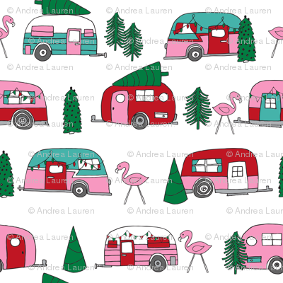 christmas camper // vintage flamingo cute retro christmas fabric andrea lauren fabric pink christmas fabric