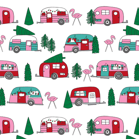 christmas camper // vintage flamingo cute retro christmas fabric andrea lauren fabric pink christmas fabric fabric by andrea_lauren on Spoonflower - custom fabric