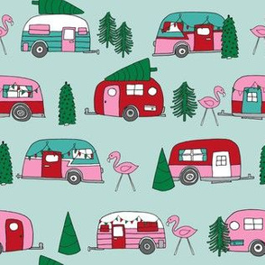 christmas camper // cute retro camper vintage christmas design cute mint and pink campers christmas florida tropical flamingos by andrea lauren