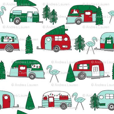 christmas camper // red and green christmas retro caravans cute campers flamingos camper andrea lauren fabric andrea lauren design