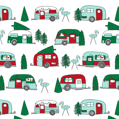 christmas camper // red and green christmas retro caravans cute campers flamingos camper andrea lauren fabric andrea lauren design fabric by andrea_lauren on Spoonflower - custom fabric