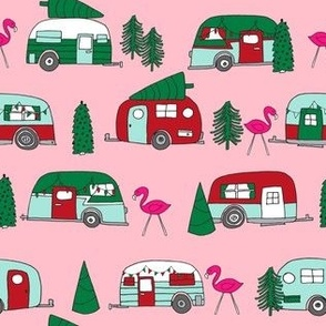 christmas camper // cute retro vintage camper caravan cute holiday xmas flamingo best camper design by andrea lauren