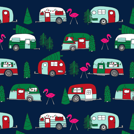 christmas camper // xmas holiday fabric cute christmas retro red and green designs cute fabric for xmas andrea lauren andrea lauren fabric fabric by andrea_lauren on Spoonflower - custom fabric