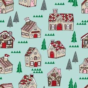 gingerbread houses // cute retro gingerbread christmas houses cute illustration santa christmas seasonal holiday