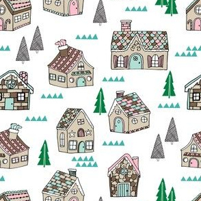 gingerbread houses // gingerbread house cute mint and pink food illustration holiday xmas christmas fabric by andrea lauren
