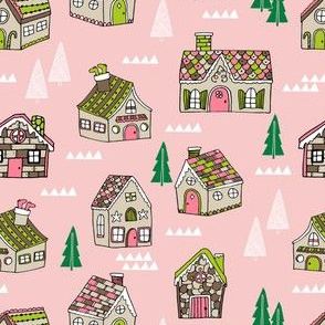 gingerbread houses // cute pink holiday christmas fabric hand-drawn food illustrations andrea lauren design christmas gingerbread house