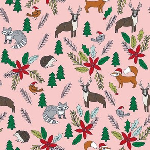 christmas woodland // xmas christmas forest fox cute animals christmas design poinsettia fabrics cute christmas design by andrea lauren