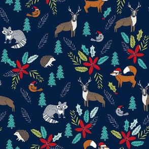 christmas woodland // cute xmas christmas fox hedgehogs fabric cute christmas design by andrea lauren