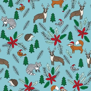 christmas woodland // cute christmas fabric cute poinsettia woodland fox fabric cute woodland fox design