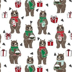 christmas bears // cute christmas xmas bear presents holiday xmas red and green design by andrea lauren