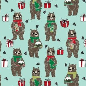 christmas bears // cute woodland christmas design best woodland xmas fabric christmas pudding cute christmas presents andrea lauren