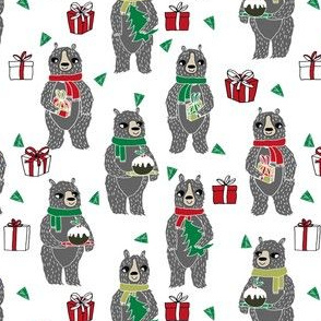 christmas bears // christmas holiday xmas design red and green fabric cute christmas design by andrea lauren