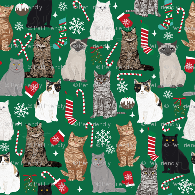 Cat Christmas fabric cat lady xmas catsmas candy cane stocking  green