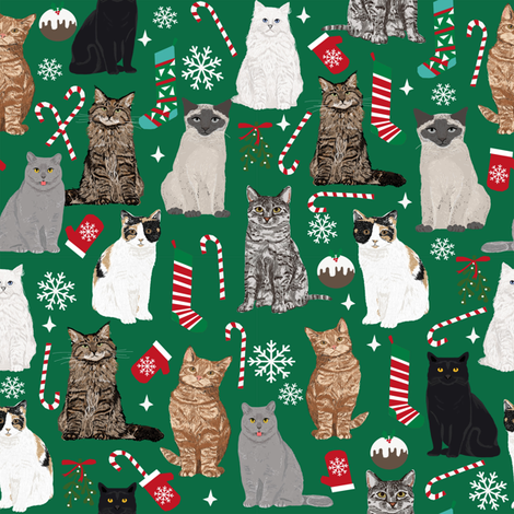 Cat Christmas fabric cat lady xmas catsmas candy cane stocking  green fabric by petfriendly on Spoonflower - custom fabric