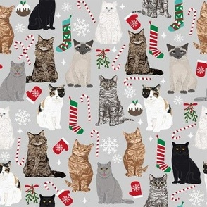 Christmas Cats fabrics christmas stocking candy cane mistletoe xmas grey