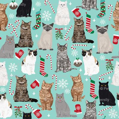 christmas cat fabric pattern print candy cane stocking mistletoe