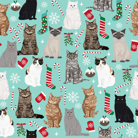 christmas cat fabric pattern print candy cane stocking mistletoe fabric by petfriendly on Spoonflower - custom fabric