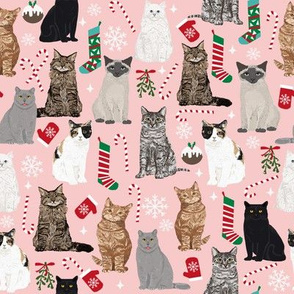 Cat Christmas fabric snowflake winter xmas stocking