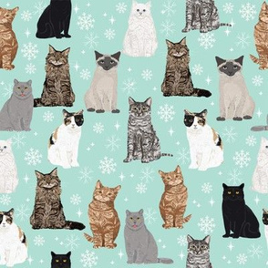 snow cats winter christmas cat fabric snowflakes