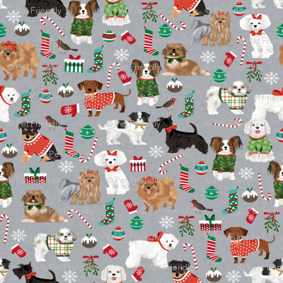 christmas dogs cute toy breed dogs peppermint stick cute toy breeds toy poodle maltese shih tzu scottie dog cute dogs christmas fabric
