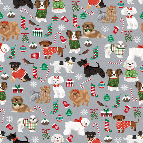 christmas dogs cute toy breed dogs peppermint stick cute toy breeds toy poodle maltese shih tzu scottie dog cute dogs christmas fabric fabric by petfriendly on Spoonflower - custom fabric
