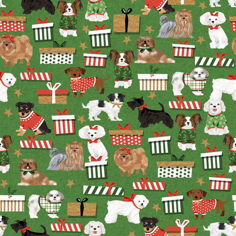 christmas dogs cute toy breed dog fabric best shih tzu dog fabric best scottie dog fabrics cute dogs design fabric by petfriendly on Spoonflower - custom fabric