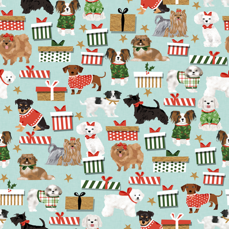 cute dog breeds toy dog breed christmas best christmas designs for toy breeds cute dog design fabric fabric by petfriendly on Spoonflower - custom fabric