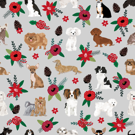 dog christmas florals cute dog design best poinsettias dogs cute dog fabrics best dog design florals fabric by petfriendly on Spoonflower - custom fabric