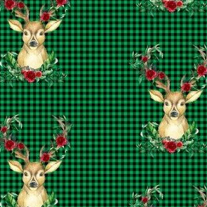 Winter Deer - Green Plaid
