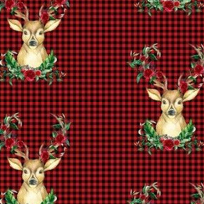 Winter Deer - Red Plaid