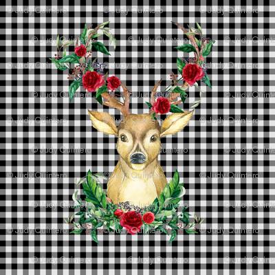Winter Deer - Black and White Plaid