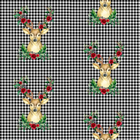 Winter Deer - Black and White Plaid fabric by shopcabin on Spoonflower - custom fabric