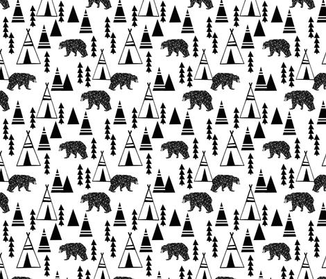 teepee forest // tipi forest kids black and white nursery cute baby nursery fabrics andrea lauren fabric andrea lauren design fabric by andrea_lauren on Spoonflower - custom fabric
