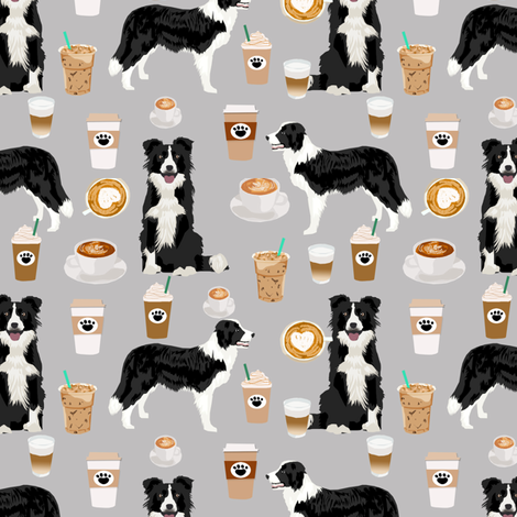 border collies and coffees prints cute dogs design best dog border collies herding dog fabric border collie fabric dog fabric quilting fabric dog design fabric by petfriendly on Spoonflower - custom fabric