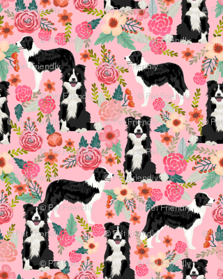 border collie florals cute pink flowers dog florals print best dog designs best dog prints cute border collies fabrics