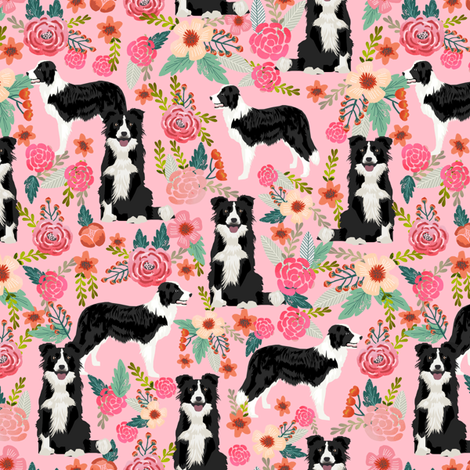 border collie florals cute pink flowers dog florals print best dog designs best dog prints cute border collies fabrics fabric by petfriendly on Spoonflower - custom fabric
