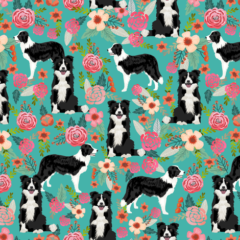 border collie florals fabric cute border collie design best border collies fabrics cute border collies designs fabric by petfriendly on Spoonflower - custom fabric