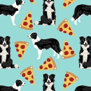 border collie pizza fabric cute border collies herding dogs fabric best dogs fabric cute dogs