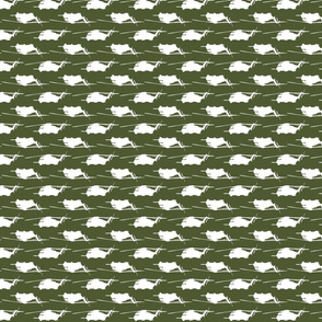 CH53 Helicopters in white offset pattern with camo green background